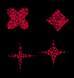 geometric shapes filled with hearts on a black vector image vector image