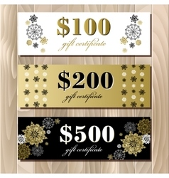 Gift certificate card template with golden vector image