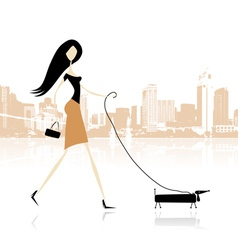 Girl with dog walking in the city vector image vector image