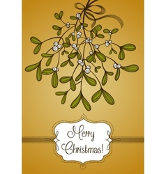 Gold christmas card with branch of mistletoe vector