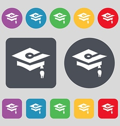 Graduation icon sign a set of 12 colored buttons vector