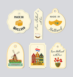 holland travel cultural and sightseeing symbols vector image