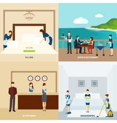 Hotel staff flat vector