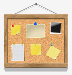 Items pinned to a cork message board vector image