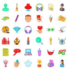 Make up icons set cartoon style vector