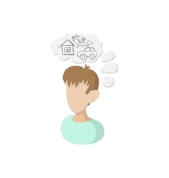 Man dreams about house icon cartoon style vector