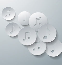 Music Notes Cut in Paper Circles Background vector image vector image
