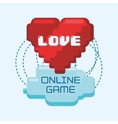 Online games love heart pixel connect vector
