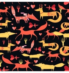 pattern of foxes vector image