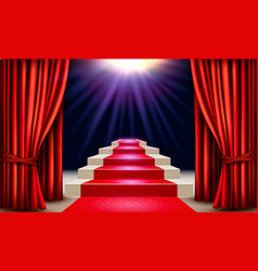 Showroom with red carpet leading to a podium with vector