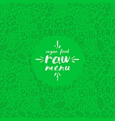 Stock raw vegan label and frame with pattern vector image vector image