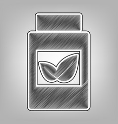 Supplements container sign pencil sketch vector