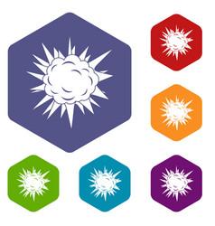 Terrible explosion icons set hexagon vector