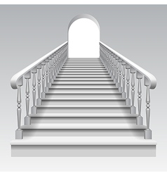 White stair with railings and archway vector