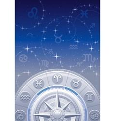 Zodiac wheel night sky vector