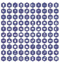 100 cow icons hexagon purple vector