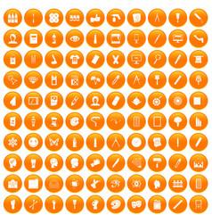 100 paint icons set orange vector