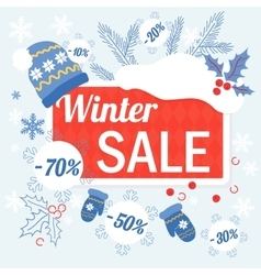 Big winter christmas sale design template with hat vector image