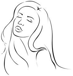 Beautiful sensual young woman - black line vector