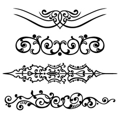 Set swirling decorative elements ornament vector