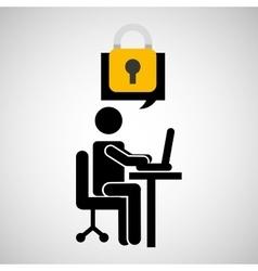 Business man silhouette user laptop on desk vector