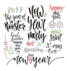 Happy new year calligraphic set with handwriting vector