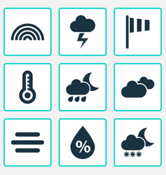 Weather icons set collection of flag nightly vector