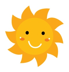 Pretty smiling sun clipart isolated on white vector