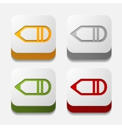 Square button pencil vector