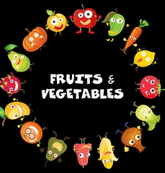 Fruits and vegetables with face vector