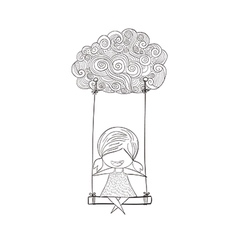 Cartoon girl swinging on a cloud art drawing by ha vector
