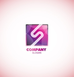 Letter s pink square logo purple vector