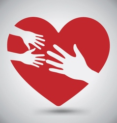 Hand of adult and kid on red heart vector