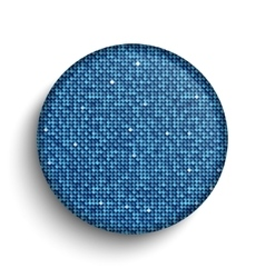 Blue sequin circle button on white background vector