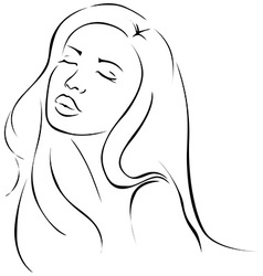Beautiful sensual young woman - black line vector