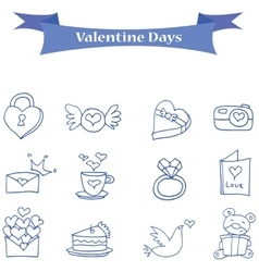 Blue icon valentine days collection vector