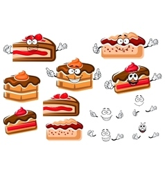Cartoon chocolate cakes and berry pies vector