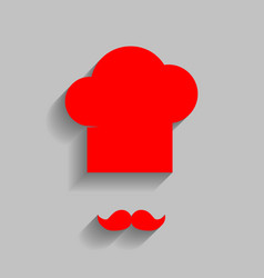 chef hat and moustache sign red icon with vector image vector image