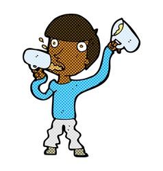 Comic cartoon man drinking beer vector