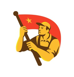 Communist Worker With Red Flag Star Retro vector image vector image