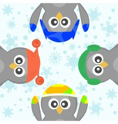 cute christmas penguins vector image