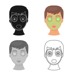 facial mask icon in cartoon style isolated on vector image