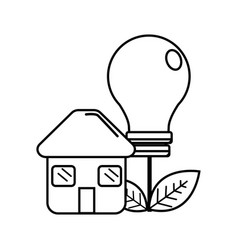 Figure house with save bulb plant with leaves vector