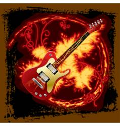 fire electric guitar vector image