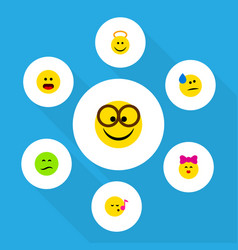 Flat icon emoji set of frown angel descant and vector