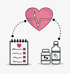Flat line concept medical prescription vector