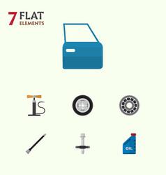 Flat workshop set of wheel pump pipeline tire vector