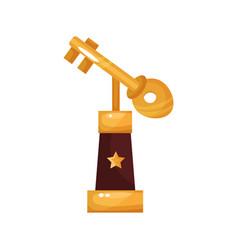 golden key award trophy statuette cartoon vector image vector image