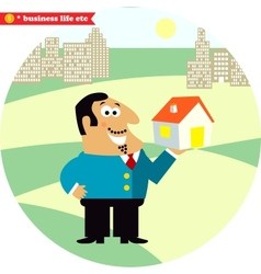 Happy director with new building vector image