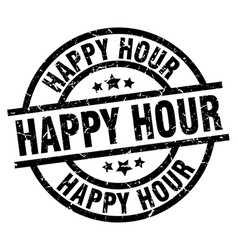 Happy hour round grunge black stamp vector